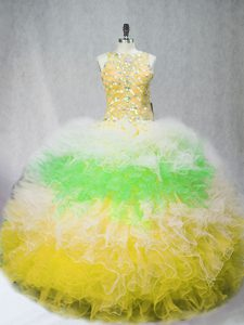 Unique Floor Length Ball Gowns Sleeveless Multi-color Sweet 16 Dress Zipper