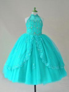 Cute Aqua Blue Lace Up Pageant Dresses Beading and Appliques Sleeveless Floor Length