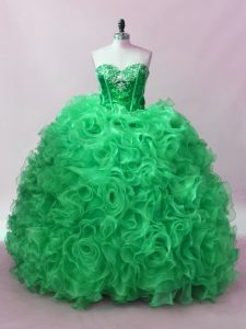 Fabric With Rolling Flowers Sweetheart Sleeveless Lace Up Sequins 15th Birthday Dress in Green