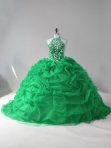 Green Sleeveless Tulle Court Train Lace Up Sweet 16 Quinceanera Dress for Sweet 16 and Quinceanera