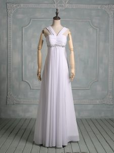 Artistic Chiffon Straps Sleeveless Zipper Beading Wedding Dress in White