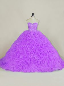 Popular Lavender Lace Up Quinceanera Dress Beading Sleeveless Court Train