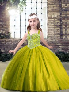 Olive Green Sleeveless Beading Floor Length Pageant Dress