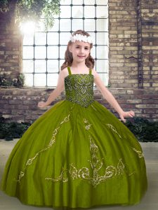 Olive Green Sleeveless Beading Floor Length Pageant Dress Wholesale