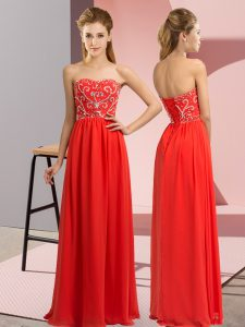 Floor Length Red Formal Dresses Sweetheart Sleeveless Lace Up