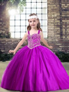 Sleeveless Floor Length Beading Lace Up Pageant Dress for Teens with Fuchsia