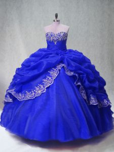 Sleeveless Beading and Appliques and Pick Ups Lace Up Quinceanera Gowns