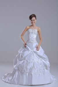 White Bridal Gown Taffeta Brush Train Sleeveless Beading and Pick Ups