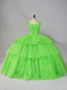 Straps Neckline Beading and Ruffled Layers and Ruching Quinceanera Gowns Sleeveless Lace Up
