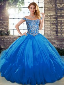 Blue Lace Up Quince Ball Gowns Beading and Ruffles Sleeveless Floor Length