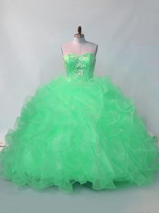 New Arrival Floor Length Lace Up Quince Ball Gowns Green for Sweet 16 and Quinceanera with Beading and Ruffles