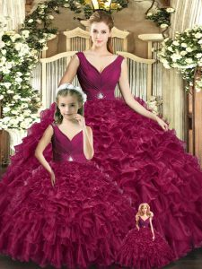 Suitable Burgundy Organza Backless 15 Quinceanera Dress Sleeveless Floor Length Beading and Ruffles