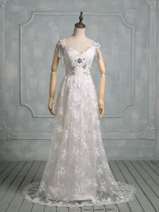 New Style V-neck Cap Sleeves Lace Wedding Gowns Beading and Lace Brush Train Side Zipper