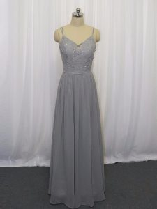 Great Grey Straps Neckline Beading and Lace Sleeveless Zipper