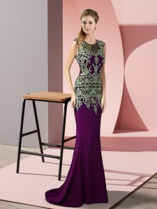 Dark Purple Scoop Zipper Appliques Evening Dress Sweep Train Sleeveless