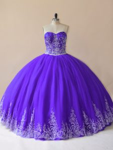 Purple Ball Gowns Embroidery Quinceanera Gown Lace Up Tulle Sleeveless Floor Length