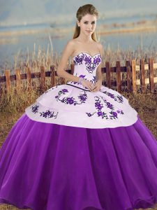 White And Purple Ball Gowns Sweetheart Sleeveless Tulle Floor Length Lace Up Embroidery and Bowknot Ball Gown Prom Dress