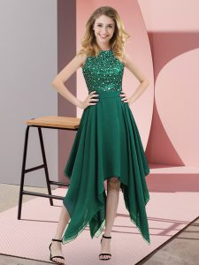 Dark Green Chiffon Zipper Prom Evening Gown Sleeveless Asymmetrical Beading and Sequins