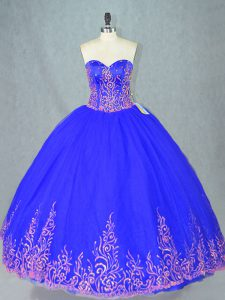 Shining Blue Sleeveless Tulle Lace Up 15 Quinceanera Dress for Sweet 16 and Quinceanera