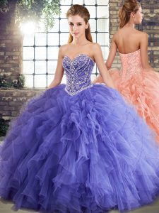 Nice Lavender Sleeveless Tulle Lace Up Vestidos de Quinceanera for Military Ball and Sweet 16 and Quinceanera