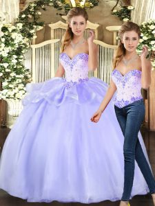 Modern Lavender Sweetheart Neckline Beading 15th Birthday Dress Sleeveless Lace Up