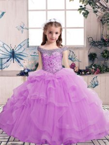 Super Lilac Tulle Lace Up Pageant Dress for Teens Sleeveless Floor Length Beading