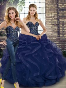 Navy Blue Tulle Lace Up Sweet 16 Dress Sleeveless Floor Length Beading and Ruffles