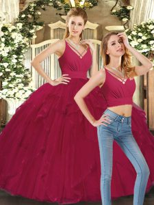 Dramatic Ball Gowns Quinceanera Gown Red V-neck Tulle Sleeveless Floor Length Lace Up