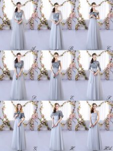 Sleeveless Floor Length Appliques Lace Up Vestidos de Damas with Grey