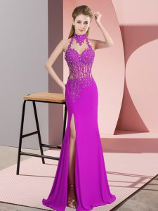 Comfortable Fuchsia Dress for Prom Prom and Party with Lace and Appliques Halter Top Sleeveless Backless