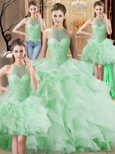 Halter Top Sleeveless Organza Quinceanera Gown Beading and Ruffles Brush Train Lace Up