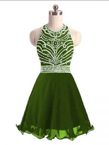 Fantastic Olive Green Sleeveless Beading Mini Length Homecoming Dress