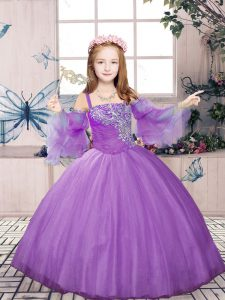 Lavender Tulle Lace Up Pageant Dress for Teens Sleeveless Floor Length Beading
