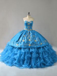 Organza Sweetheart Sleeveless Lace Up Embroidery and Ruffles Sweet 16 Quinceanera Dress in Blue
