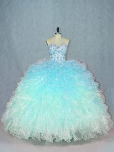 Multi-color Sweetheart Lace Up Beading and Ruffles Quince Ball Gowns Sleeveless
