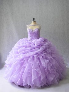 Lavender Ball Gowns Scoop Sleeveless Organza Brush Train Lace Up Beading and Ruffles Quinceanera Gown