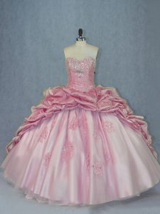 Sweetheart Sleeveless Quinceanera Gowns Brush Train Beading and Appliques and Pick Ups Pink Tulle
