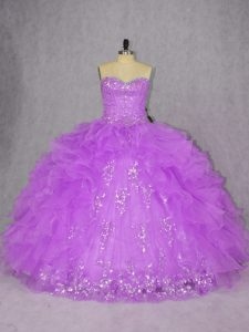Exquisite Sweetheart Sleeveless 15th Birthday Dress Floor Length Appliques and Ruffles Purple Organza