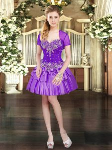 Dazzling Purple Taffeta Lace Up Sweetheart Sleeveless Mini Length Homecoming Dress Beading and Ruffled Layers