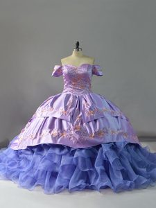 Clearance Sleeveless Embroidery and Ruffles Lace Up Sweet 16 Quinceanera Dress with Lavender Chapel Train