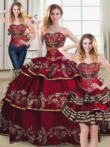 Wine Red Ball Gowns Sweetheart Sleeveless Organza Floor Length Lace Up Embroidery and Ruffled Layers Quinceanera Dress