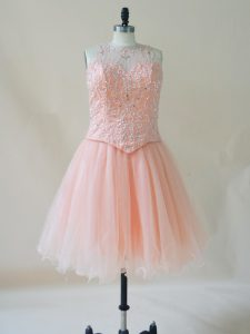 Pink Scoop Neckline Beading Oscars Dresses Sleeveless Lace Up
