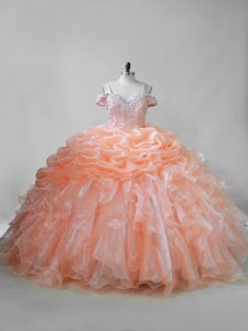 Eye-catching Orange Straps Lace Up Beading and Ruffles and Pick Ups Quince Ball Gowns Brush Train Sleeveless