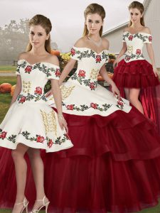 Wine Red Sleeveless Tulle Brush Train Lace Up Quinceanera Gowns for Military Ball and Sweet 16 and Quinceanera