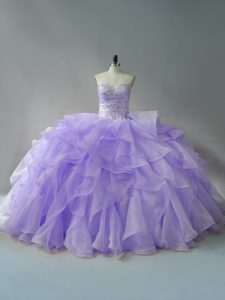 Great Lavender Ball Gowns Beading and Ruffles 15 Quinceanera Dress Lace Up Organza Sleeveless