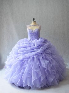 Lavender Scoop Lace Up Beading and Ruffles and Pick Ups Quince Ball Gowns Brush Train Sleeveless