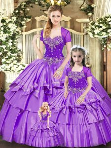 Romantic Floor Length Ball Gowns Sleeveless Lavender Ball Gown Prom Dress Lace Up