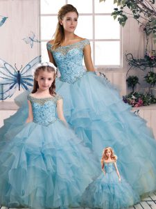 Light Blue Ball Gowns Organza Off The Shoulder Sleeveless Beading and Ruffles Floor Length Lace Up Quinceanera Dresses