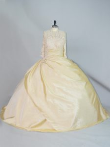 Elegant Brush Train Ball Gowns Sweet 16 Quinceanera Dress Yellow High-neck Taffeta Long Sleeves Lace Up