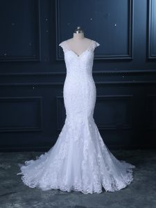 High End Brush Train Mermaid Wedding Dresses White V-neck Tulle Sleeveless Clasp Handle